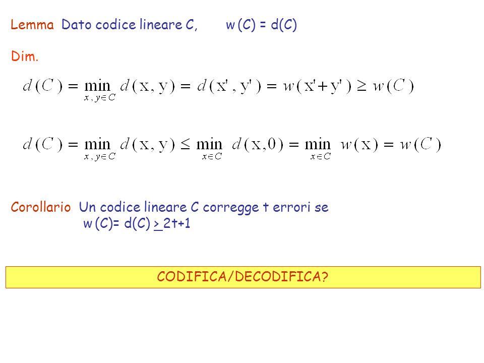 Lemma Dato codice lineare C, w (C) = d(C)
