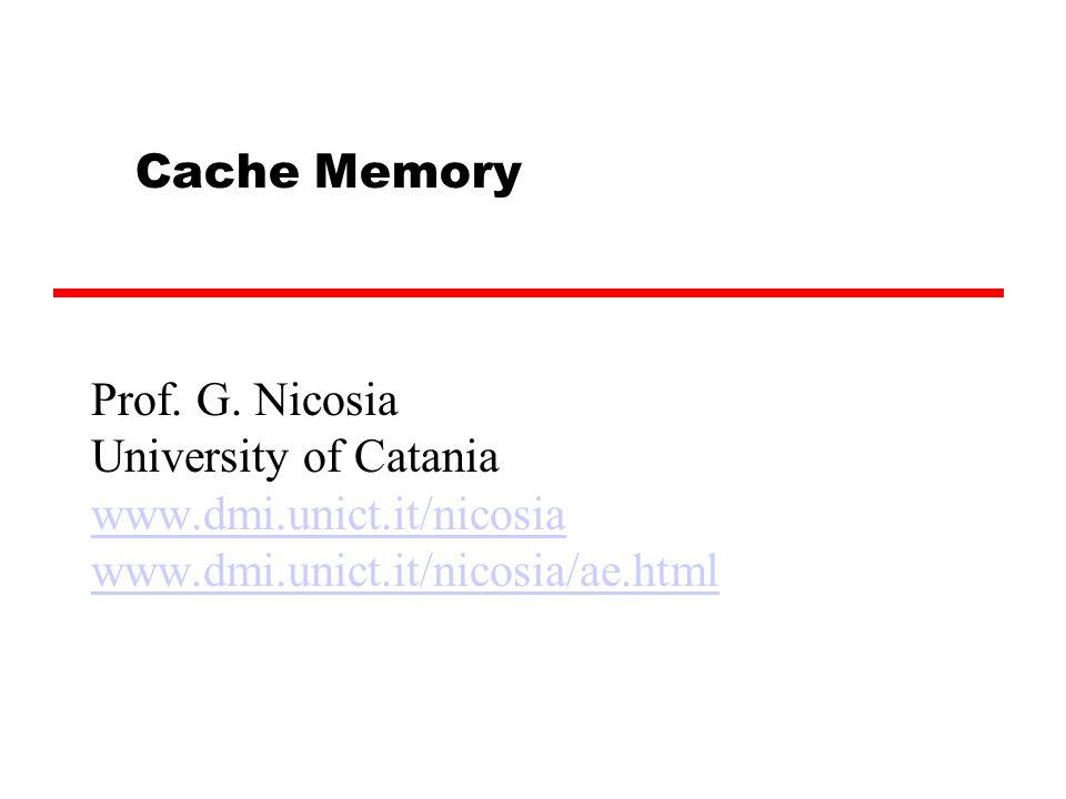 Cache Memory Prof. G.