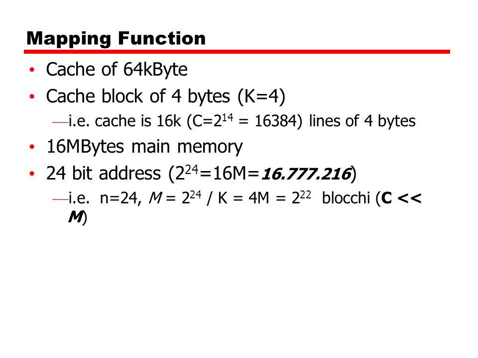 Cache block of 4 bytes (K=4) 16MBytes main memory