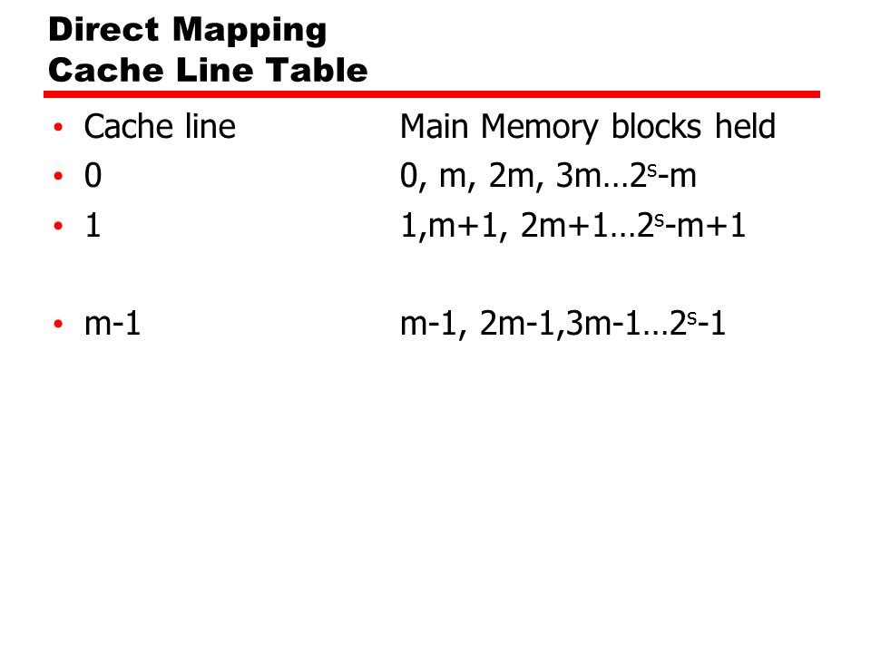 Direct Mapping Cache Line Table