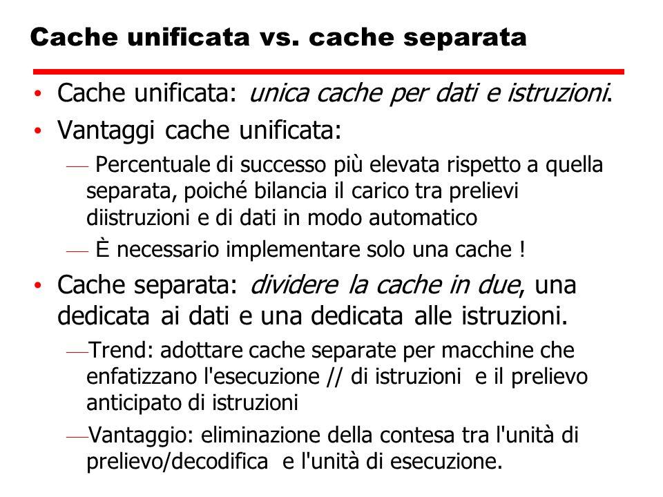 Cache unificata vs. cache separata