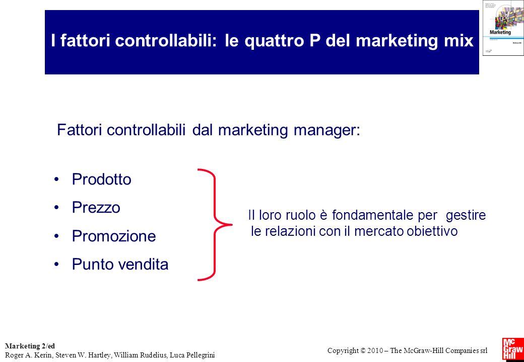I fattori controllabili: le quattro P del marketing mix