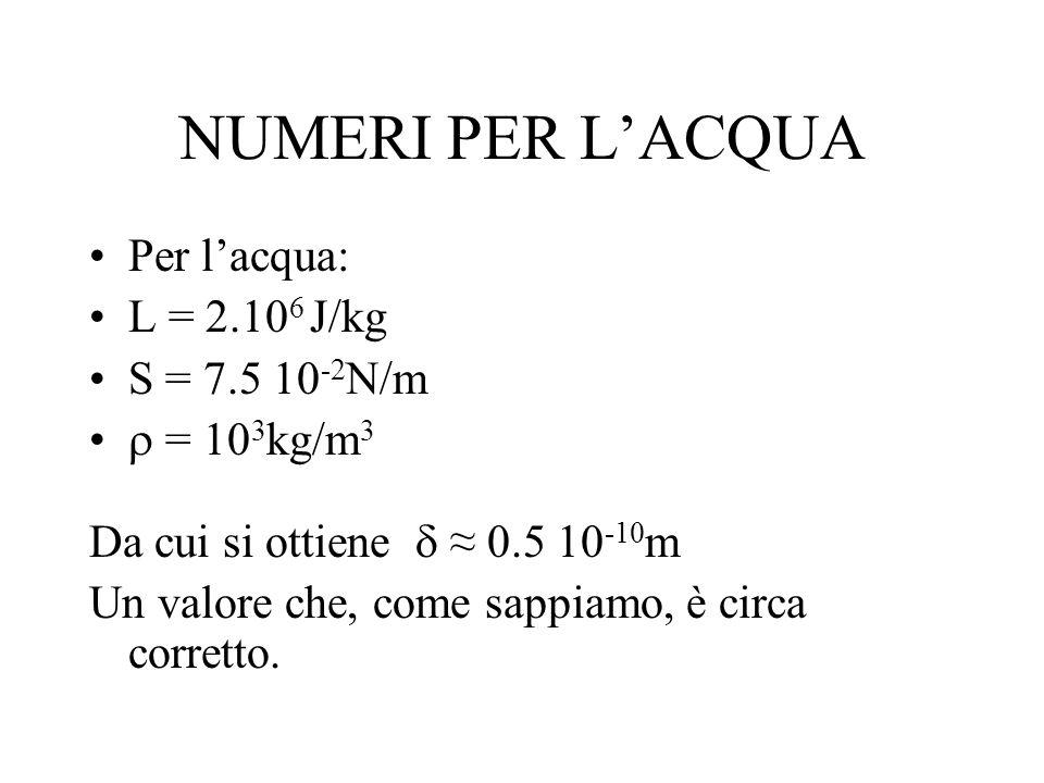 NUMERI PER L'ACQUA Per l'acqua: L = 2.106 J/kg S = 7.5 10-2N/m