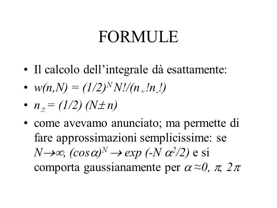 FORMULE Il calcolo dell'integrale dà esattamente: