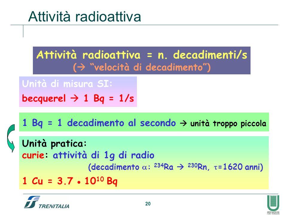 Attività radioattiva = n. decadimenti/s ( velocità di decadimento )