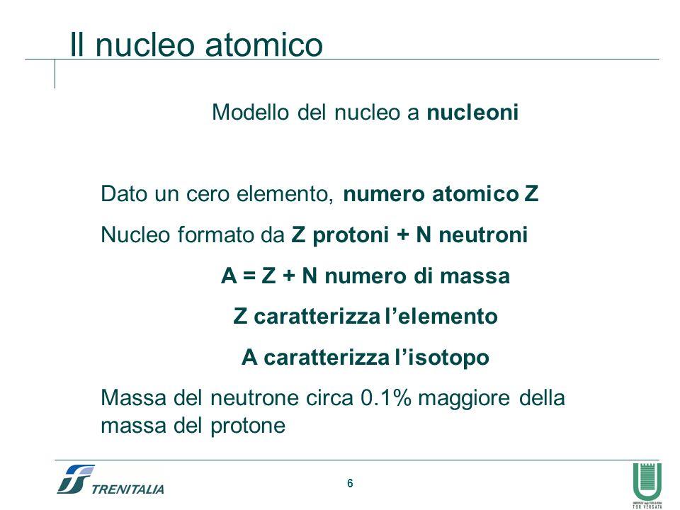 Z caratterizza l'elemento A caratterizza l'isotopo