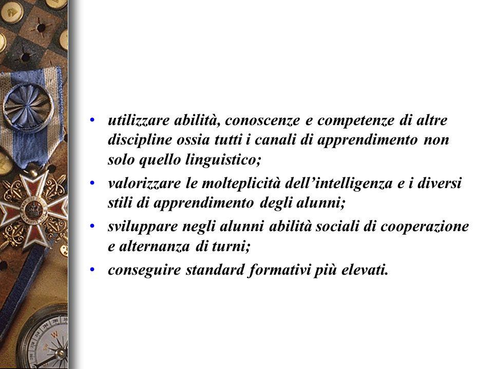 utilizzare abilità, conoscenze e competenze di altre discipline ossia tutti i canali di apprendimento non solo quello linguistico;