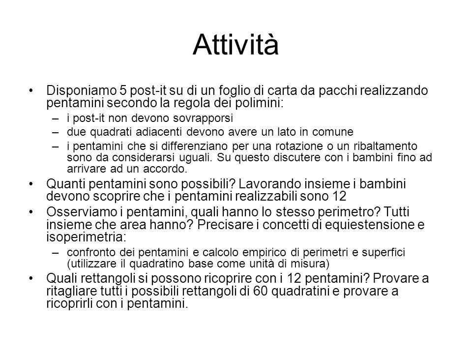 AttivitàDisponiamo 5 post-it su di un foglio di carta da pacchi realizzando pentamini secondo la regola dei polimini: