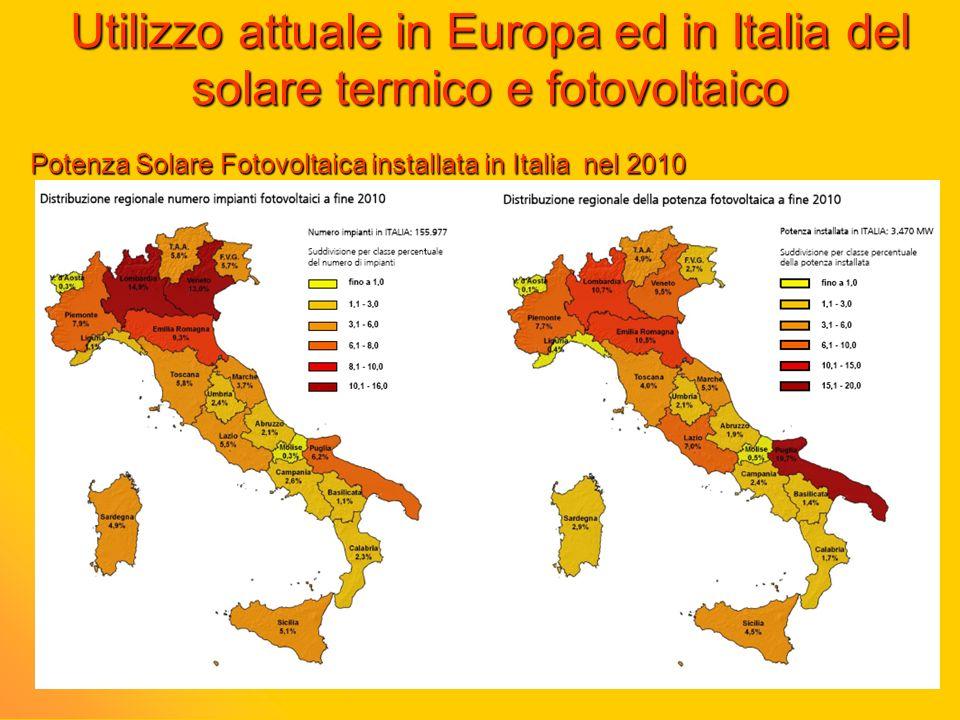 Utilizzo attuale in Europa ed in Italia del solare termico e fotovoltaico
