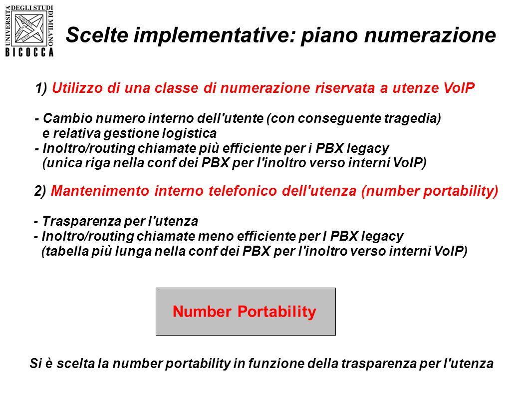 Scelte implementative: piano numerazione