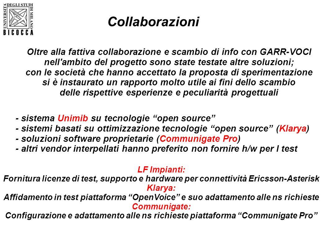 Collaborazioni Oltre alla fattiva collaborazione e scambio di info con GARR-VOCI. nell ambito del progetto sono state testate altre soluzioni;