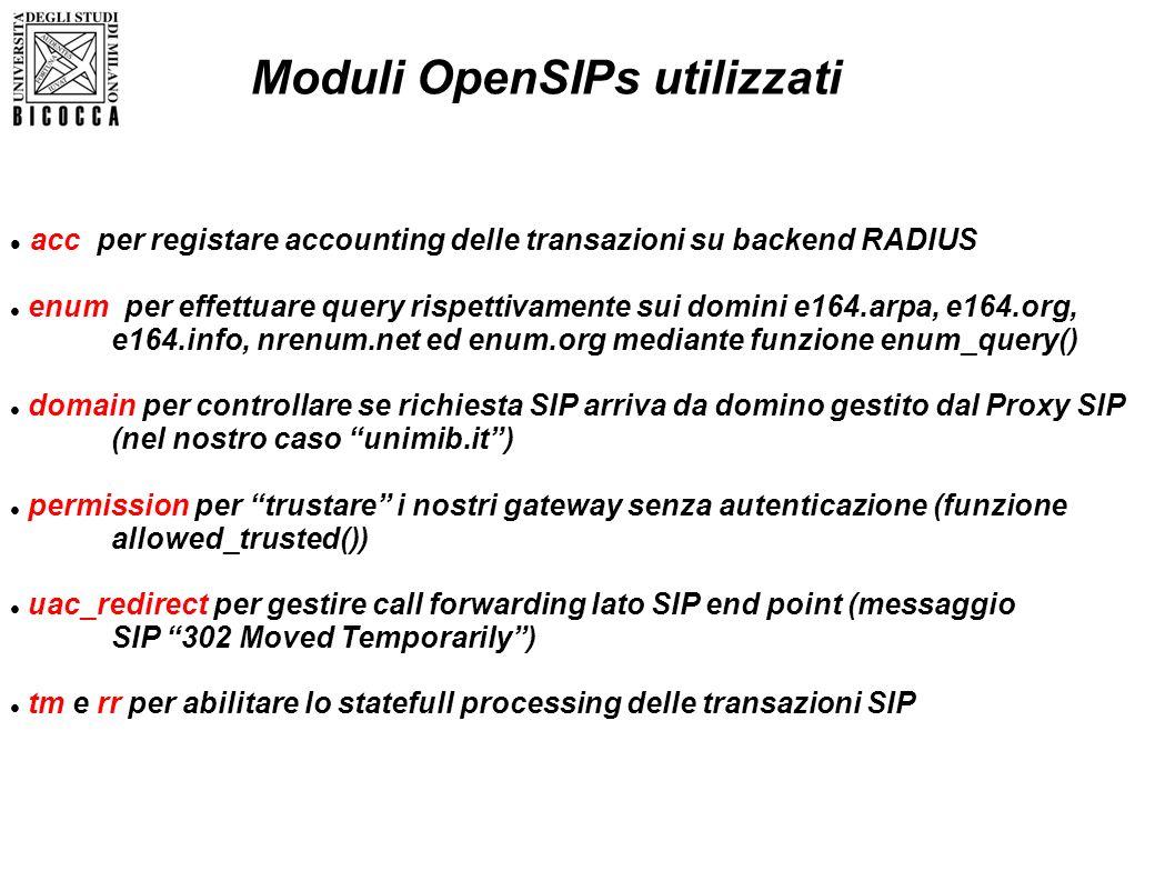 Moduli OpenSIPs utilizzati