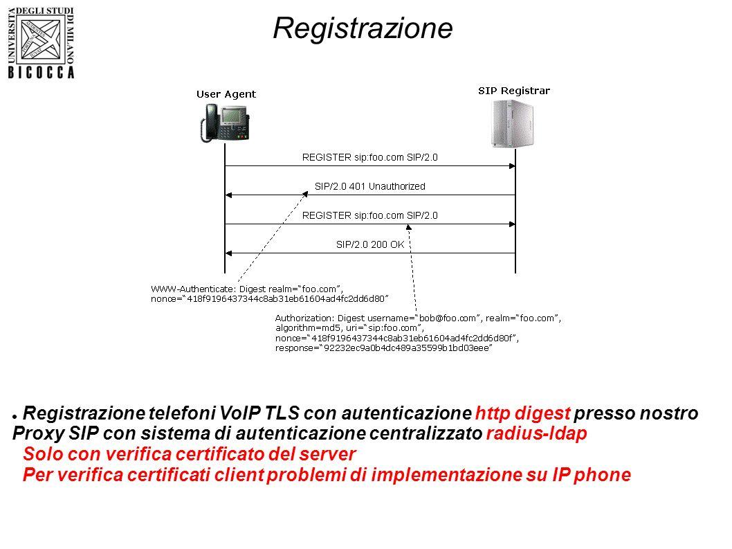 Registrazione Solo con verifica certificato del server