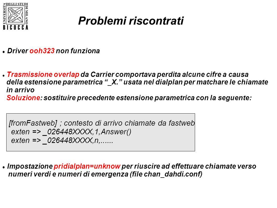 Problemi riscontrati Driver ooh323 non funziona