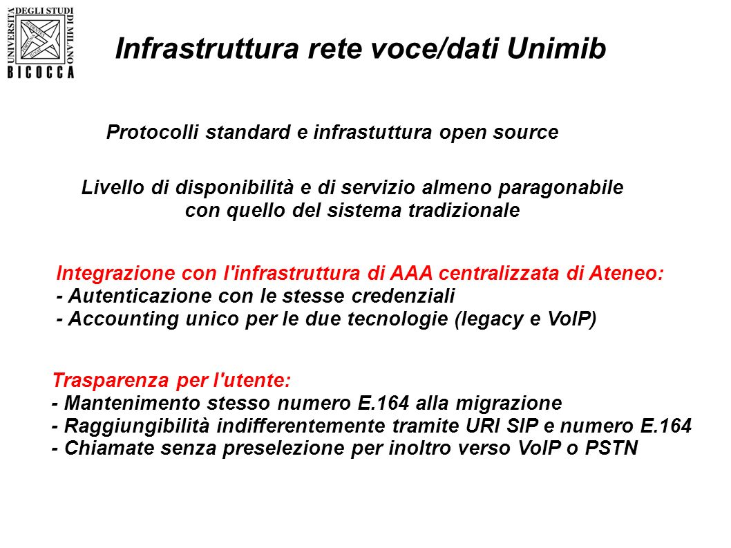 Infrastruttura rete voce/dati Unimib