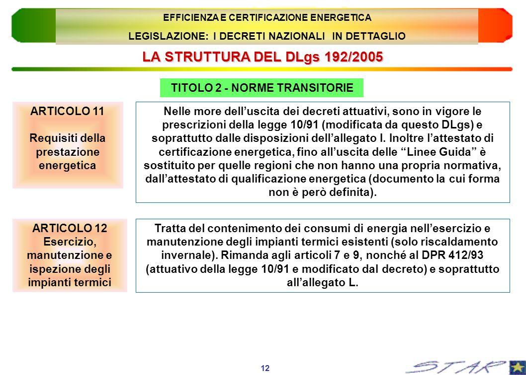 LA STRUTTURA DEL DLgs 192/2005 TITOLO 2 - NORME TRANSITORIE
