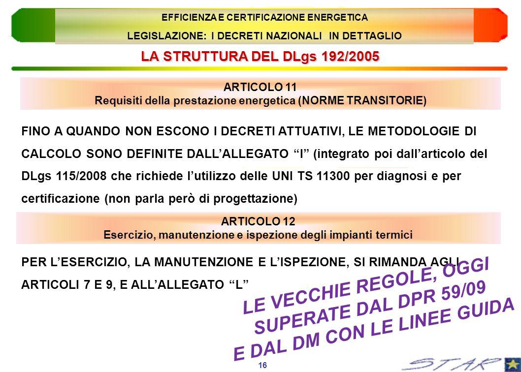 LE VECCHIE REGOLE, OGGI SUPERATE DAL DPR 59/09