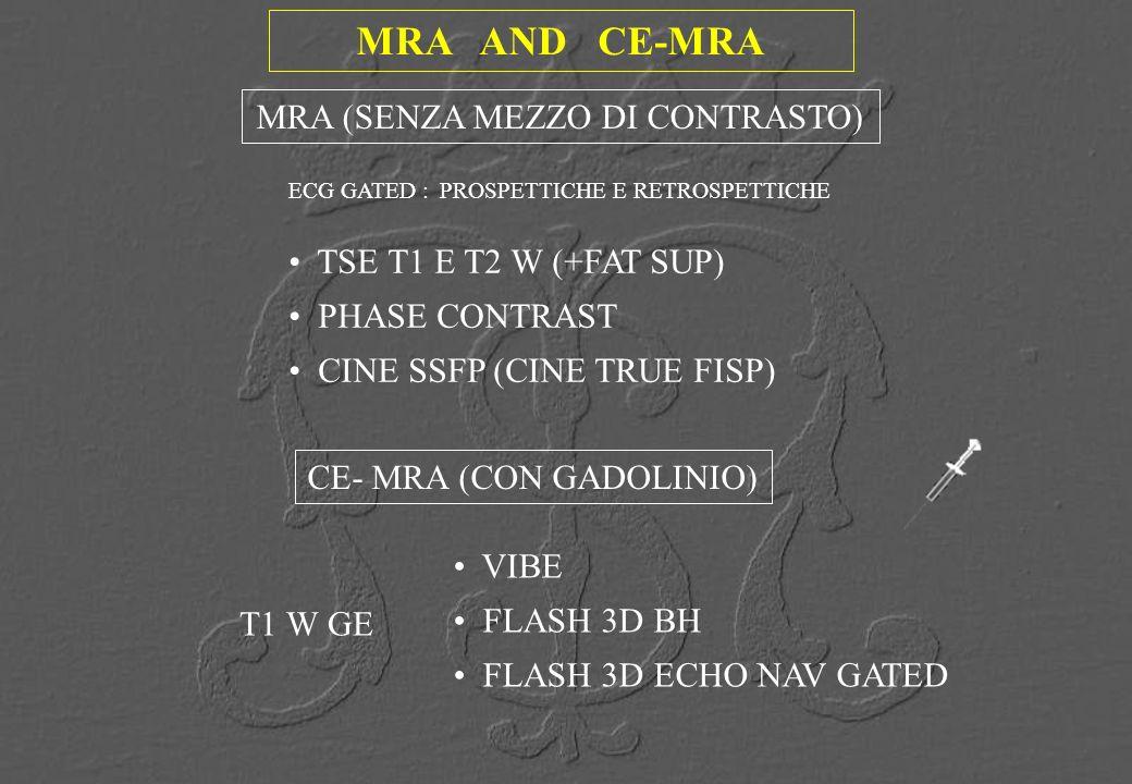 MRA AND CE-MRA MRA (SENZA MEZZO DI CONTRASTO) TSE T1 E T2 W (+FAT SUP)