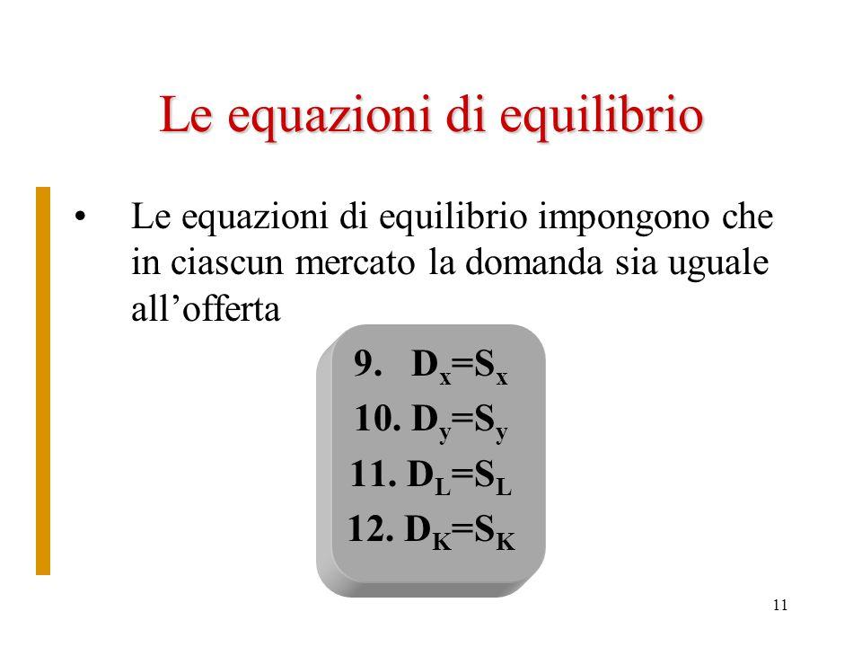 Le equazioni di equilibrio