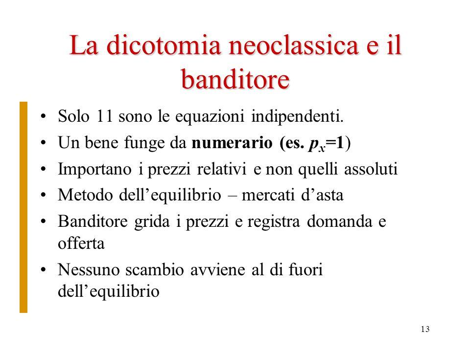 La dicotomia neoclassica e il banditore