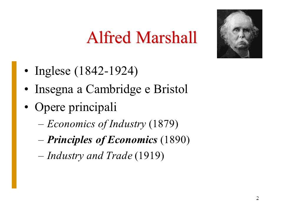 Alfred Marshall Inglese (1842-1924) Insegna a Cambridge e Bristol