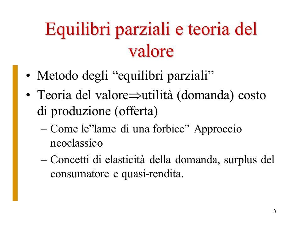 Equilibri parziali e teoria del valore