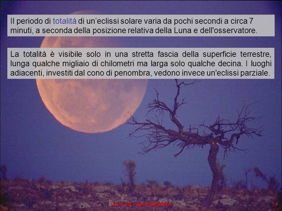 Il periodo di totalità di un'eclissi solare varia da pochi secondi a circa 7 minuti, a seconda della posizione relativa della Luna e dell osservatore.