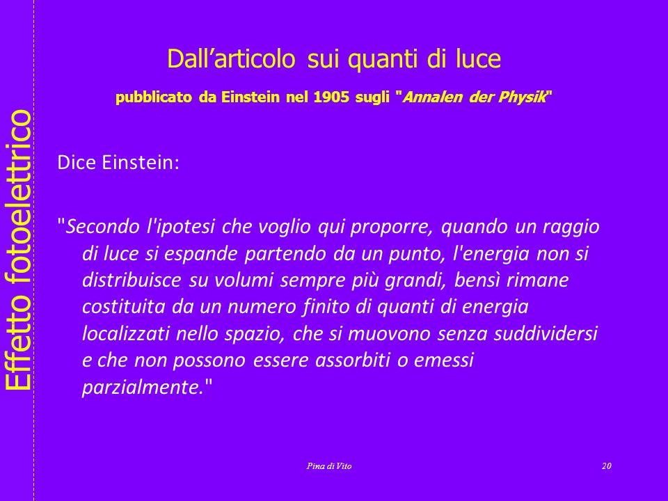 Dall'articolo sui quanti di luce pubblicato da Einstein nel 1905 sugli Annalen der Physik