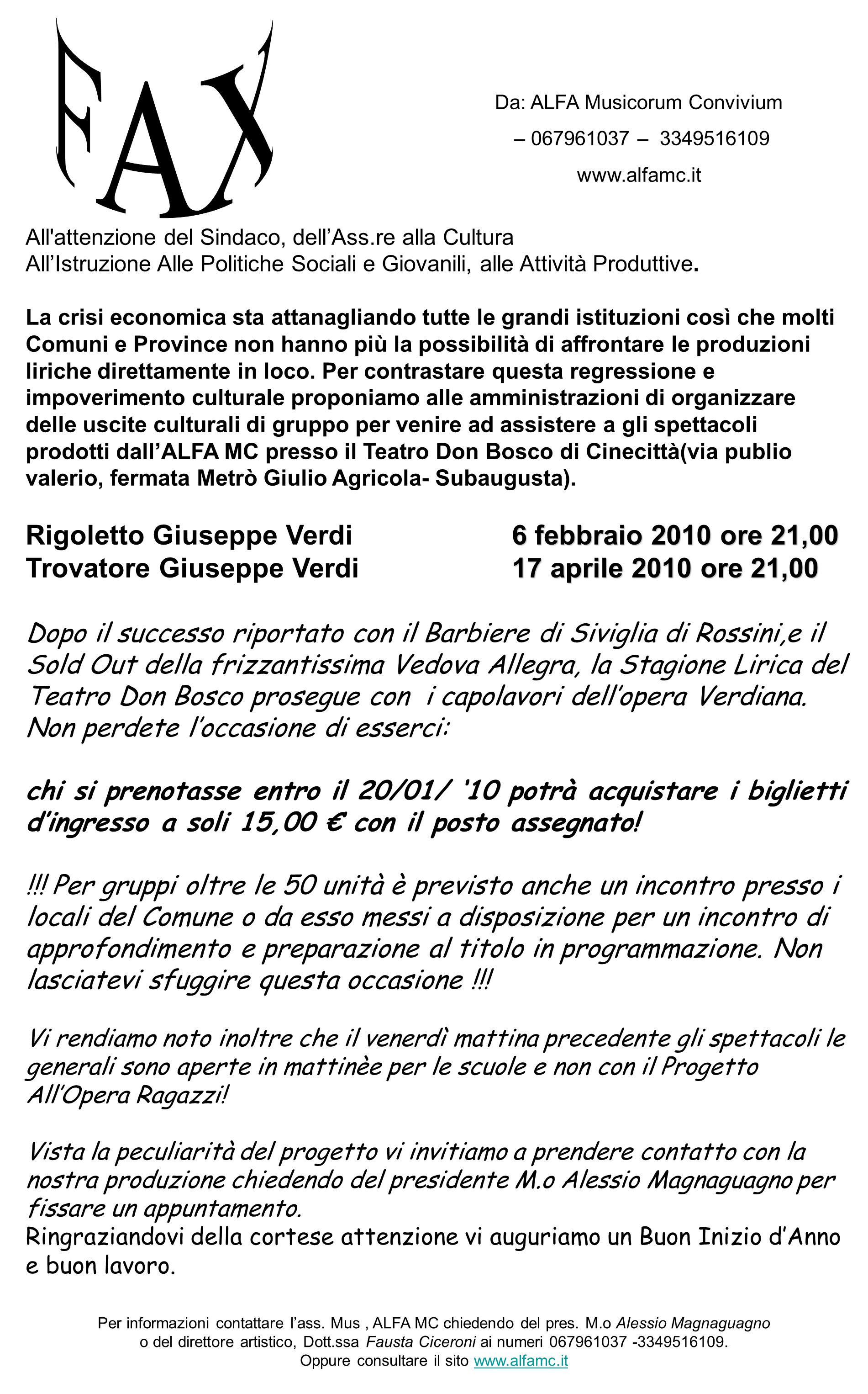 Rigoletto Giuseppe Verdi 6 febbraio 2010 ore 21,00