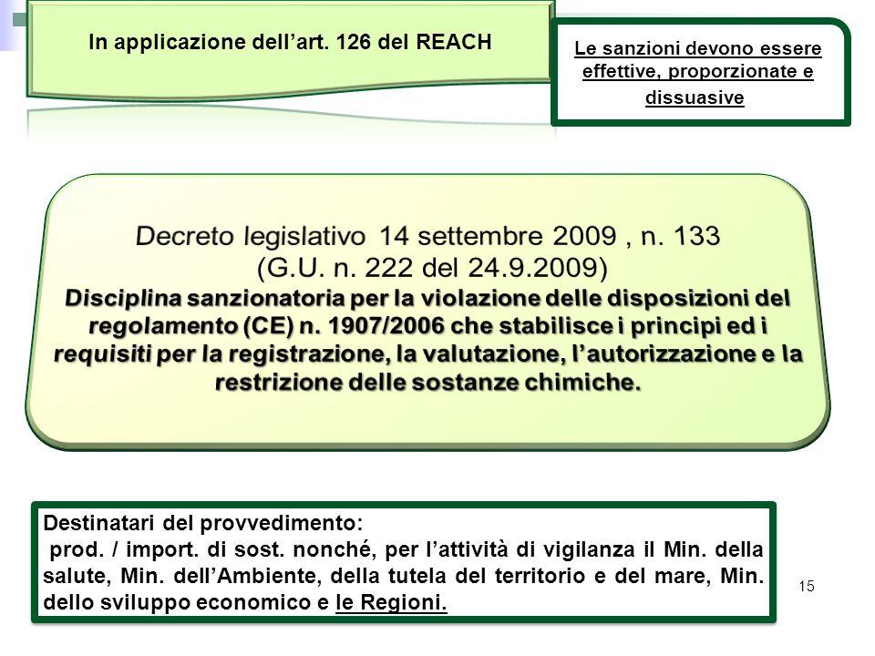 In applicazione dell'art. 126 del REACH