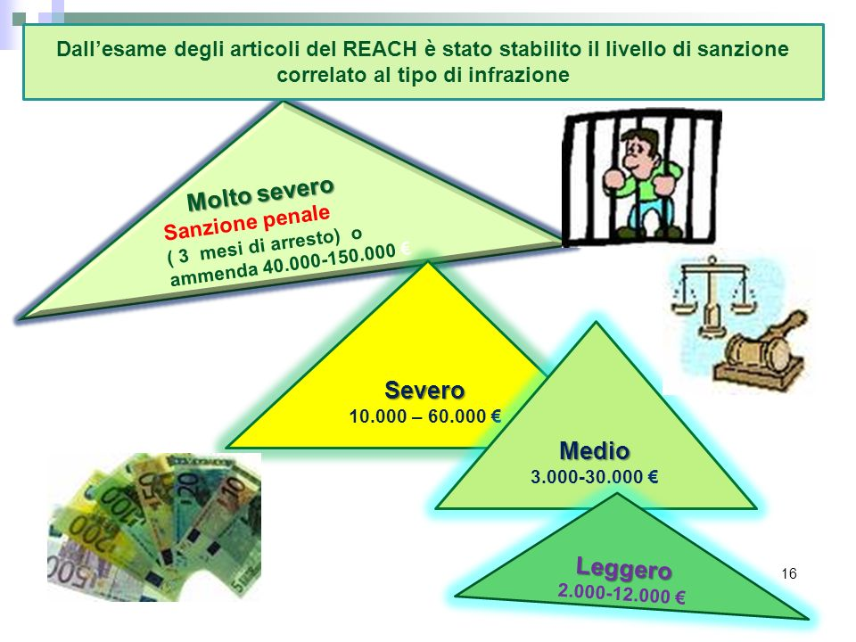 Dall'esame degli articoli del REACH è stato stabilito il livello di sanzione correlato al tipo di infrazione