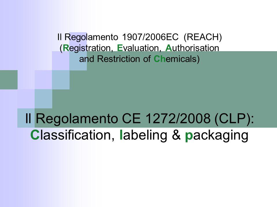 Il Regolamento CE 1272/2008 (CLP):