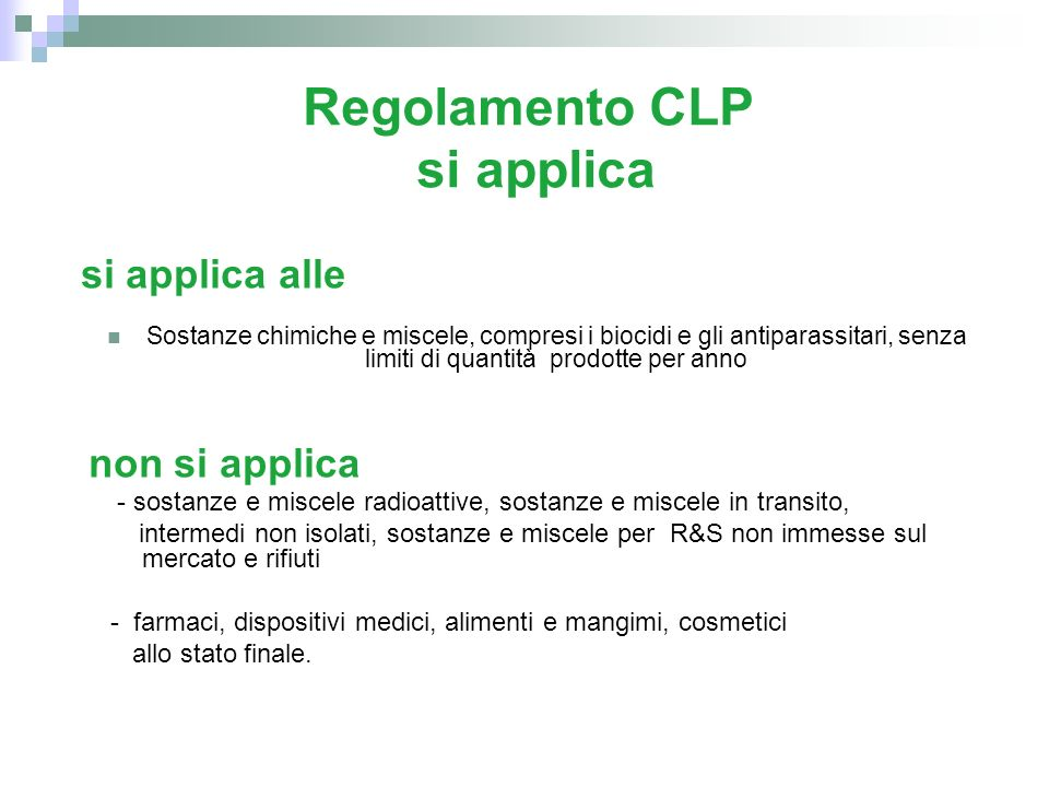 Regolamento CLP si applica