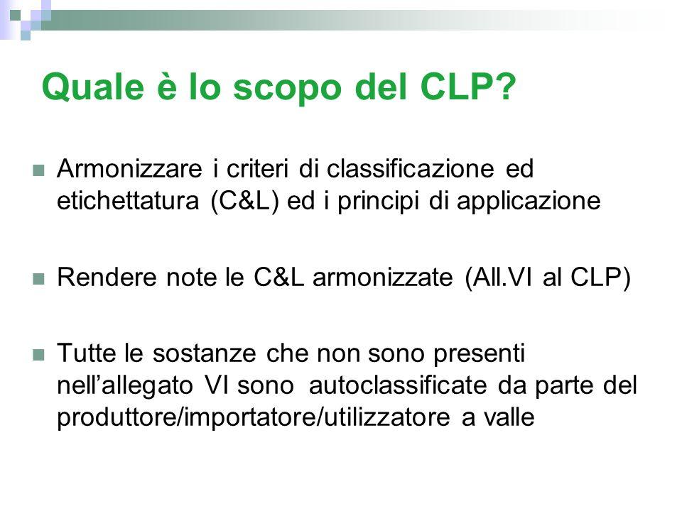 Quale è lo scopo del CLP Armonizzare i criteri di classificazione ed etichettatura (C&L) ed i principi di applicazione.