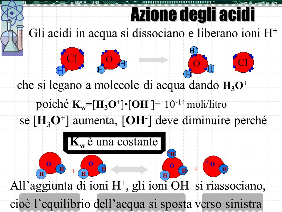 Azione degli acidi Gli acidi in acqua si dissociano e liberano ioni H+