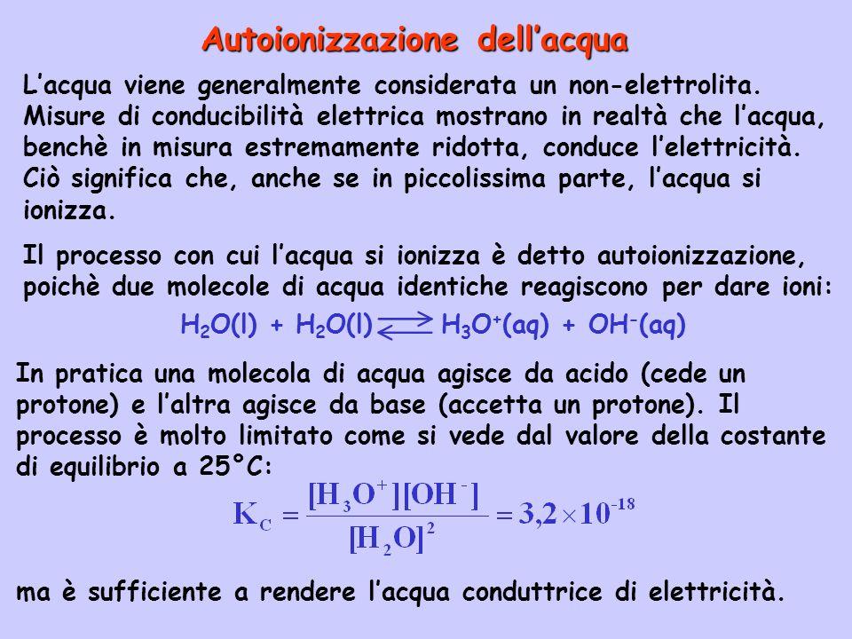 H2O(l) + H2O(l) H3O+(aq) + OH-(aq)