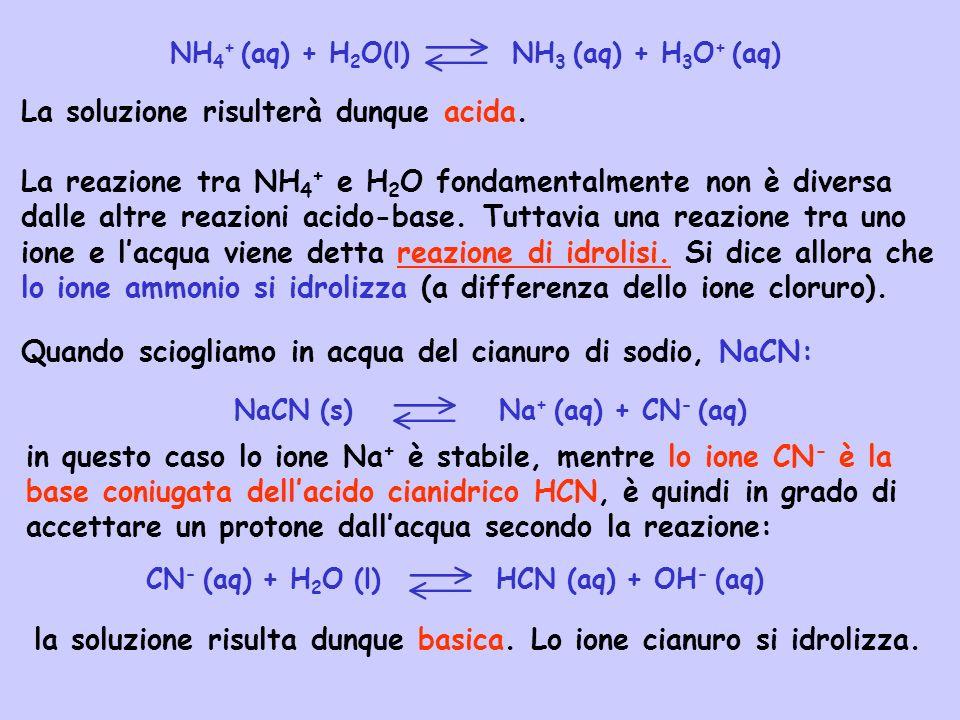 NaCN (s) Na+ (aq) + CN- (aq)