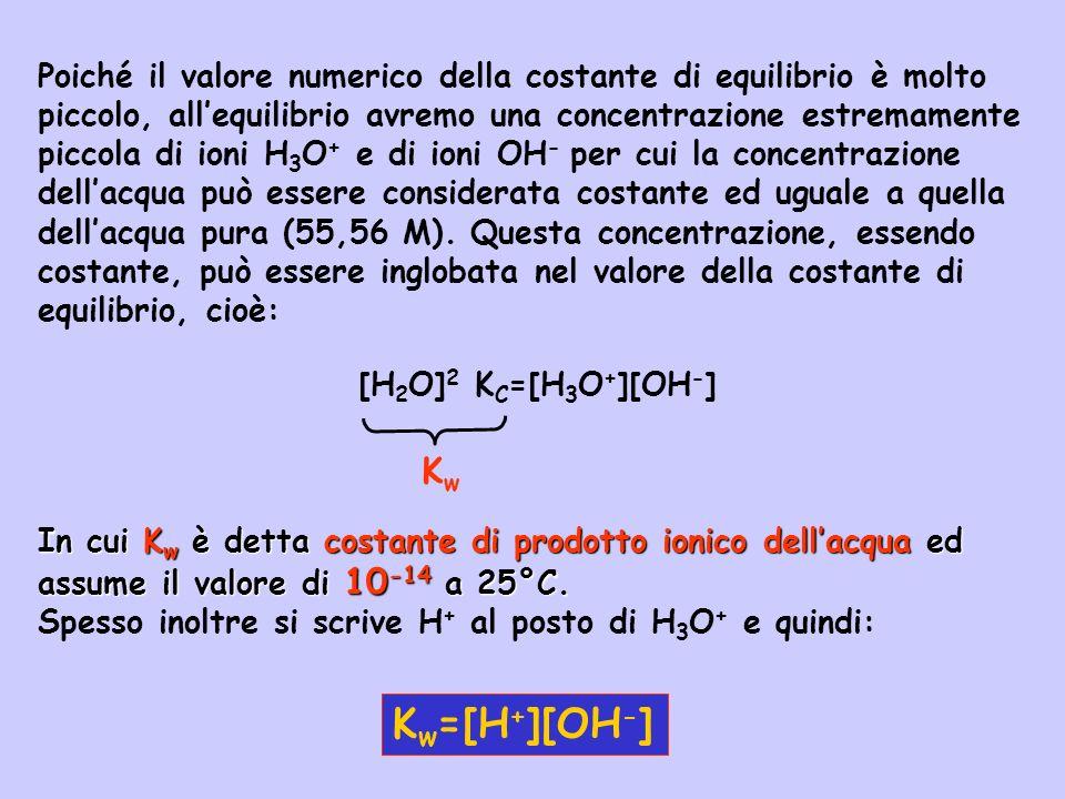 Poiché il valore numerico della costante di equilibrio è molto piccolo, all'equilibrio avremo una concentrazione estremamente piccola di ioni H3O+ e di ioni OH- per cui la concentrazione dell'acqua può essere considerata costante ed uguale a quella dell'acqua pura (55,56 M). Questa concentrazione, essendo costante, può essere inglobata nel valore della costante di equilibrio, cioè: