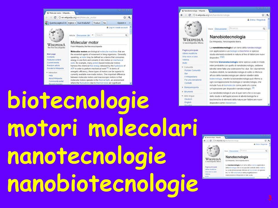 biotecnologie motori molecolari nanotecnologie nanobiotecnologie