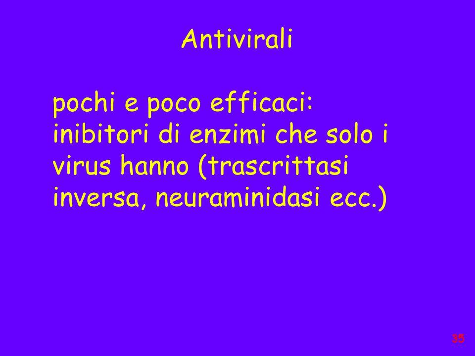 Antivirali pochi e poco efficaci: inibitori di enzimi che solo i virus hanno (trascrittasi inversa, neuraminidasi ecc.)