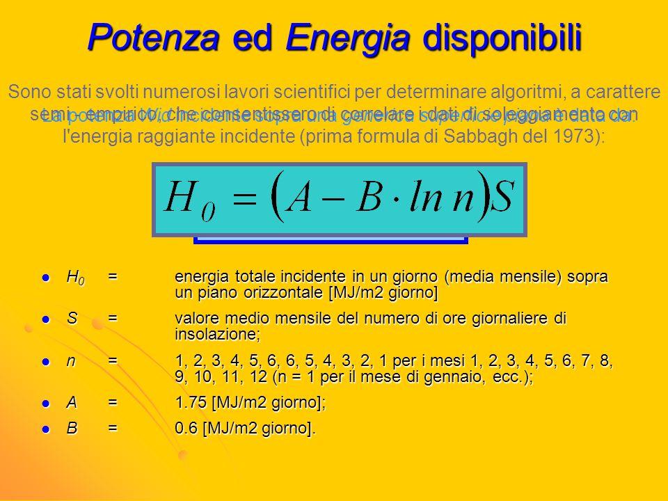 Potenza ed Energia disponibili