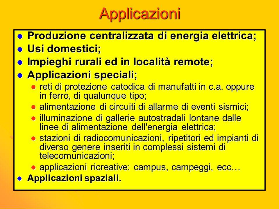 Applicazioni Produzione centralizzata di energia elettrica;