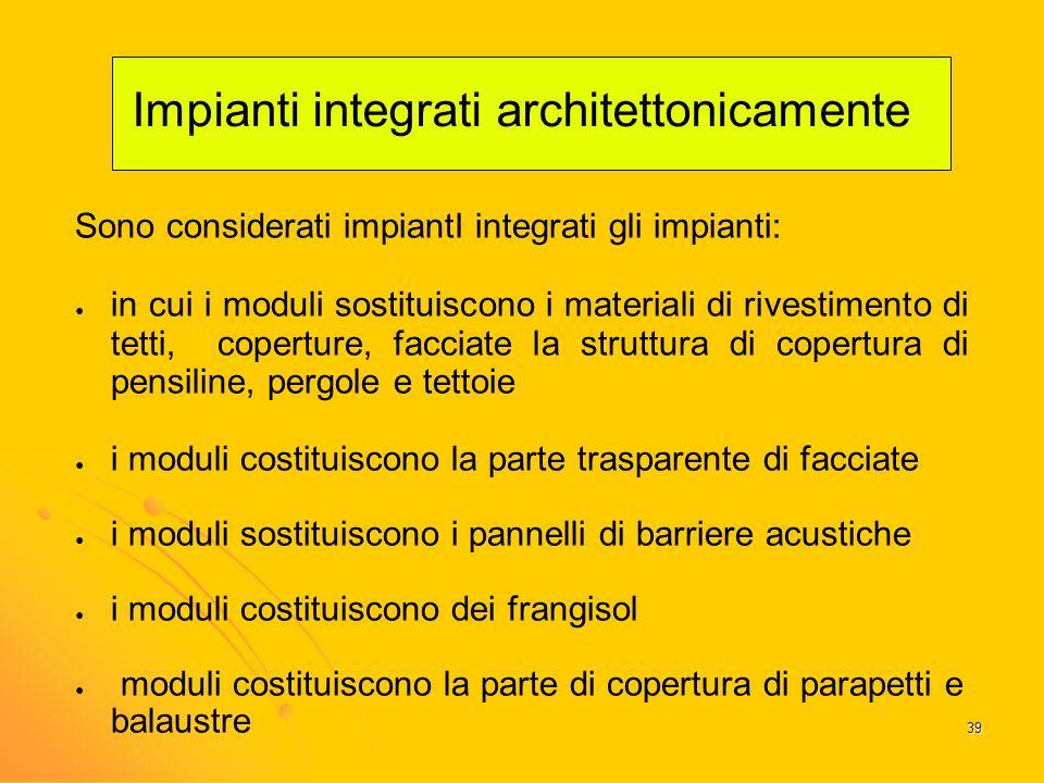 Impianti integrati architettonicamente