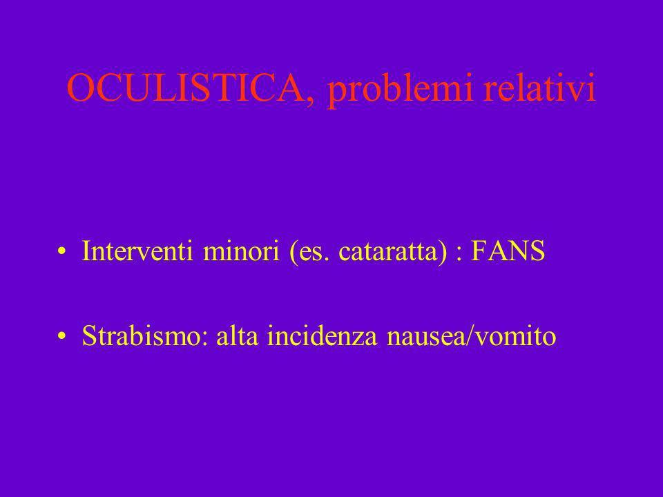 OCULISTICA, problemi relativi