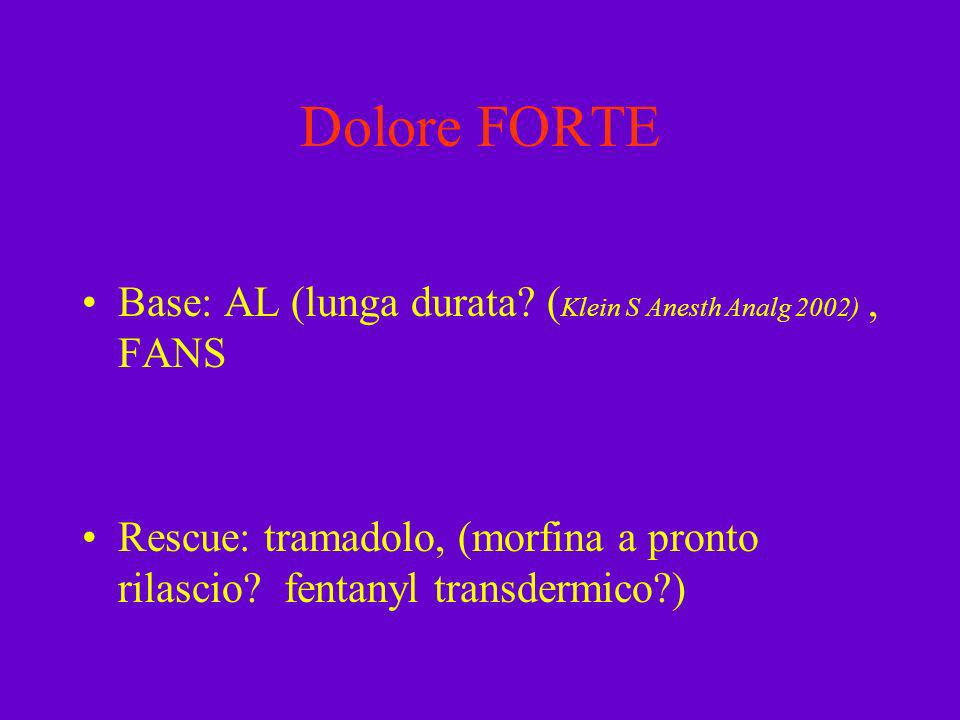 Dolore FORTE Base: AL (lunga durata. (Klein S Anesth Analg 2002) , FANS.