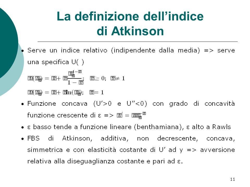 La definizione dell'indice di Atkinson
