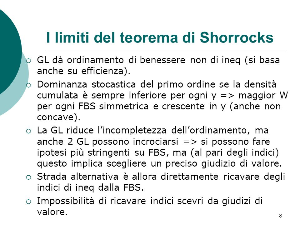 I limiti del teorema di Shorrocks