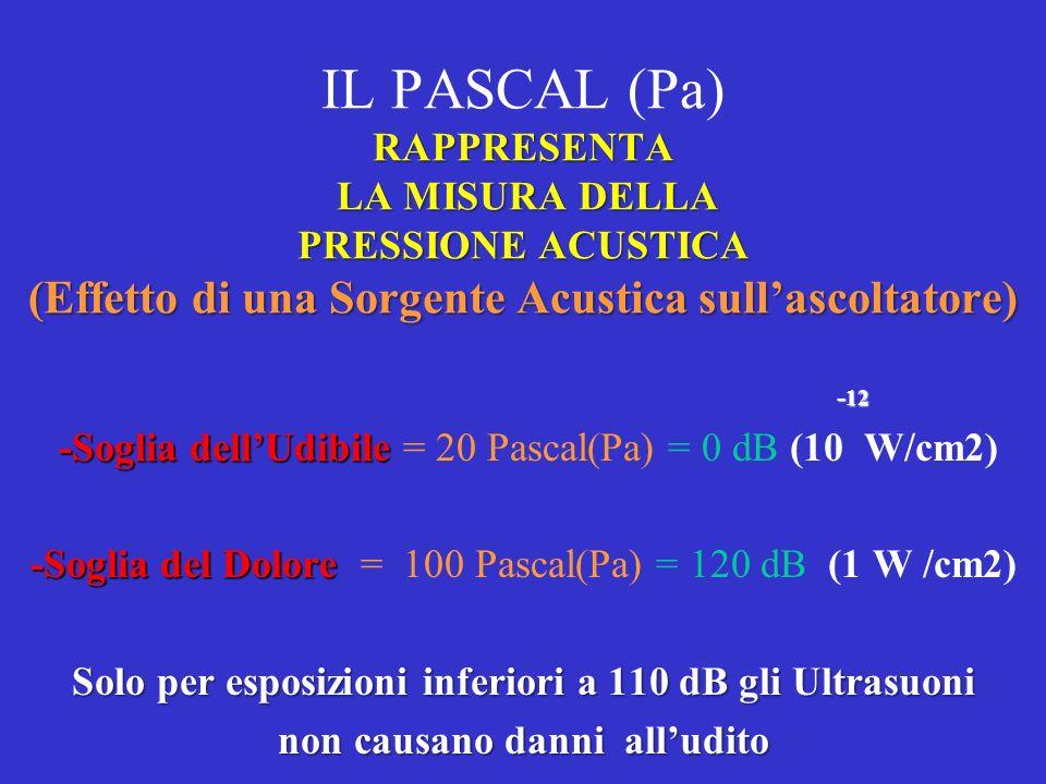 IL PASCAL (Pa) RAPPRESENTA LA MISURA DELLA PRESSIONE ACUSTICA (Effetto di una Sorgente Acustica sull'ascoltatore)