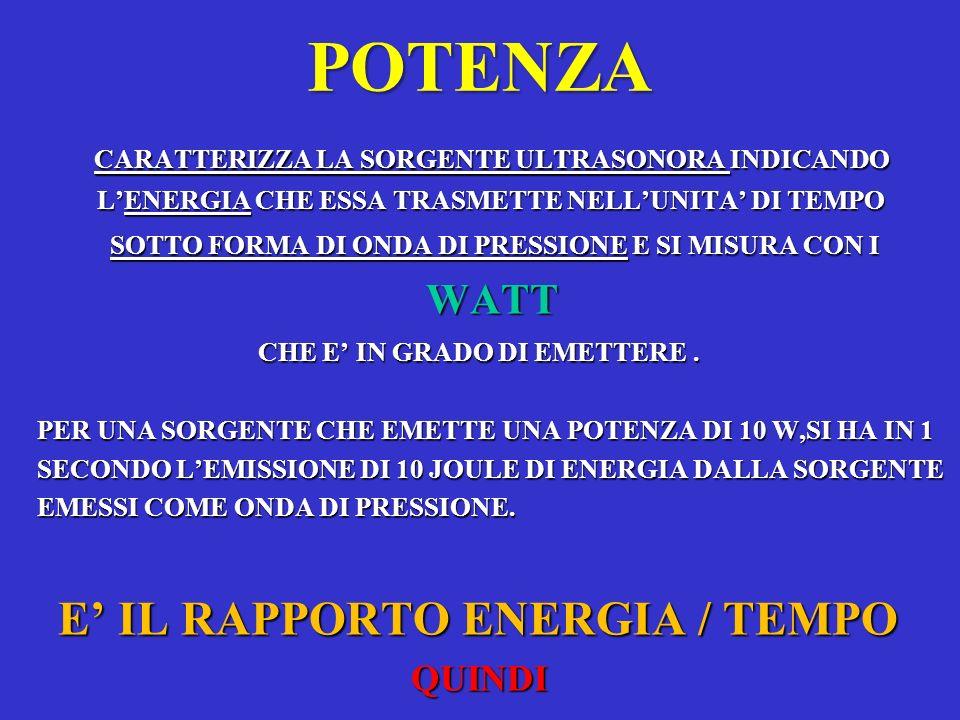 POTENZA E' IL RAPPORTO ENERGIA / TEMPO WATT