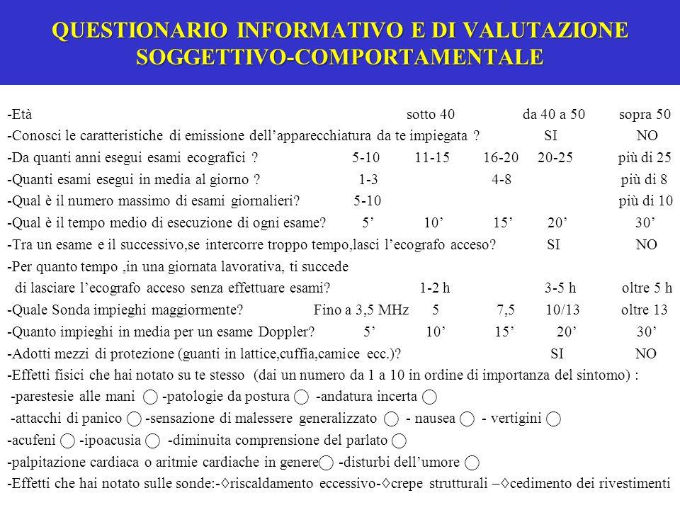 QUESTIONARIO INFORMATIVO E DI VALUTAZIONE SOGGETTIVO-COMPORTAMENTALE